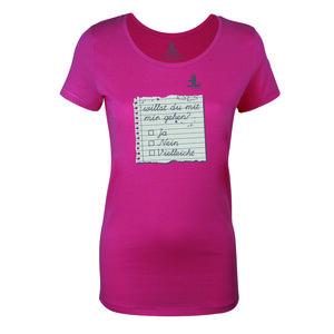 FAIRLIEBT 'Willst Du mit mir gehen' Girlie T-Shirt, pink - Fairliebt.