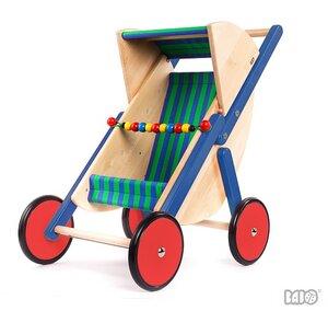 Bajo Puppenwagen, Buggy stabil  mit Stoffbezug blau-grün  - BAJO Holzspielzeug