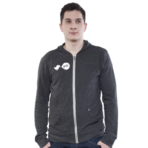Light Zip Hoody Men Slub Dark Heather Grey Birdy Hey - SILBERFISCHER