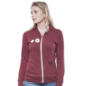 Light Zip Hoody Women Dark Heather Burgundy Birdy Hey - SILBERFISCHER