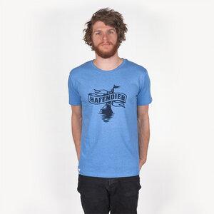 LOGO UNISEX T-SHIRT MID HEATHER BLUE - HAFENDIEB