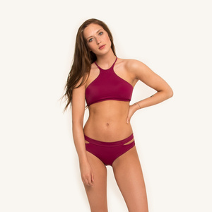 Lani Halter Top Berry - Woodlike Ocean