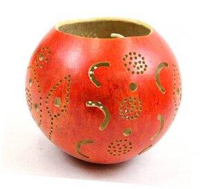 Kalebasse Teelicht, rot - Africa Design
