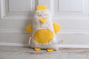 Kuschelkissen Hilda das Huhn in gelb kleine Punkte - tinéba