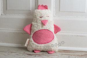Kuschelkissen Hilda das Huhn in rosa kleine Punkte - tinéba