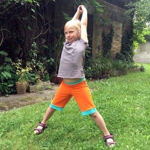 leichte Jersey-Shorts orange mit mintfarbenen Bündchen  - bingabonga