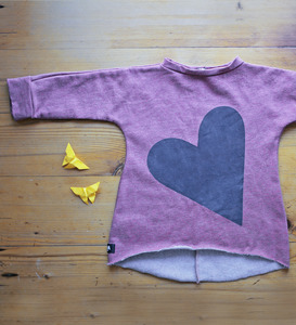 Sweat Pulli mit Herz-Motiv rosa meliert - Lena Schokolade