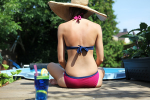 Bio Bikini Baumwolle beere / blau 'Fjorde' - Frija Omina