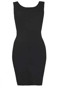 PERLA TWIST BACK BODYCON DRESS BLACK - Annie Greenabelle