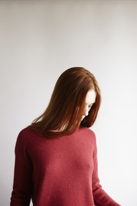 Round Neck Sweater Alpaka - red - Les Racines Du Ciel