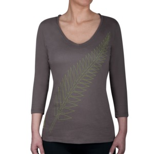GLENTI  -  Tee Shirt 3/4 Sleeve V-Neck - WANAKA Precycled