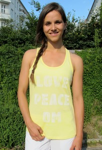 "Yoga Top ""Love Peace Om"" gelb - YogiCompany"