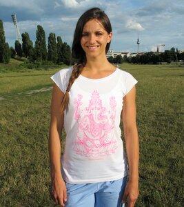 Yoga T-Shirt weiß Ganesha pink - YogiCompany