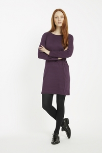 Louise Stripe Dress - Plum  - People Tree