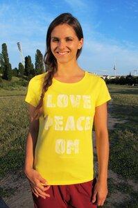 "Yoga T-Shirt ""Love Peace Om"" gelb - YogiCompany"
