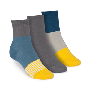ThokkThokk 3er Pack Mid-Top Socken Triple Striped/Graphite/Triple - THOKKTHOKK