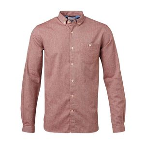 Solid Col. Flannel Shirt Madder Brown - KnowledgeCotton Apparel