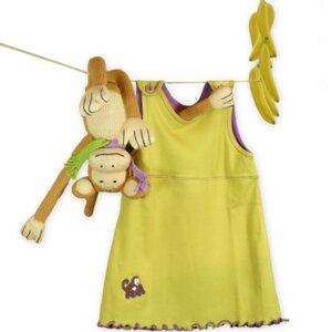 Geschenkidee zur Geburt: Affe und Babykleid in Grün/Lila - Mama Ocllo