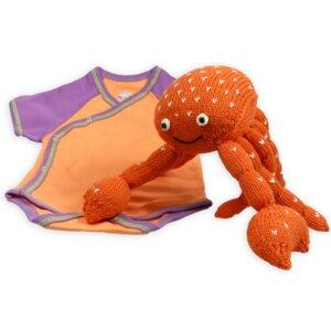 Nachhaltiges Babygeschenk: Krebs und Wickelbody Orange/Lila - Chill n Feel