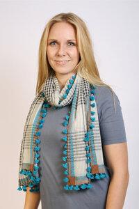 Damenschal 'Braun-Blau mit Bommeln' - Preciosa
