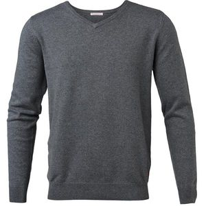 Basic V-Neck Cashmere/Cotton - GOTS - Dark Grey Melange - KnowledgeCotton Apparel