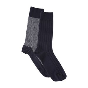 Fine Socks 2 Pack - Total Eclipse/ gemustert - KnowledgeCotton Apparel