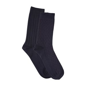 Fine Socks 2 Pack - Total Eclipse/ gepunktet - KnowledgeCotton Apparel