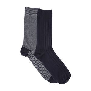 Fine Socks 2 Pack - Total Eclipse/ gestreift - KnowledgeCotton Apparel