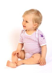 Baby Body, lila-weiß gestreift mit Logostickerei - Preciosa