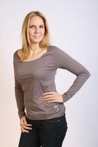 Damen Longsleeve-Shirt, dunkel-lila, hauchzart - Preciosa