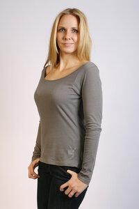 Damen Longsleeve-Shirt, grau, hauchzart - Preciosa