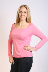 Damen Longsleeve-Shirt, rosa, hauchzart - Preciosa