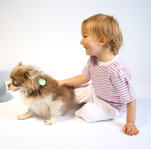 Kinder T-Shirt lila-weiß gestreift - Preciosa