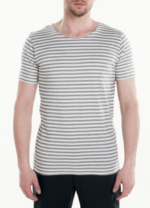 Jacquard Striped Tee - White  - KnowledgeCotton Apparel