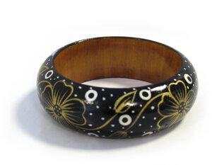 Holzarmreifen 'Blume schwarz' - Preciosa