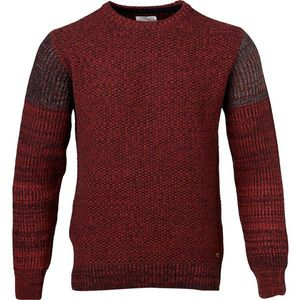 Block Knit W/O-Neck - Madder Brown - KnowledgeCotton Apparel