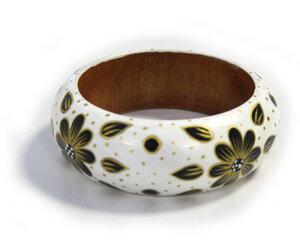 Holzarmreifen 'Blume weiß' - Preciosa