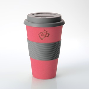 Coffee-to-go-Becher (Bambus) Motiv: OM (rot) - freakulized