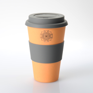 Coffee-to-go-Becher aus Bambus mit Sri-Yantra-Applikation (orange) - freakulized