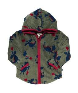 Baby u. Kinder Fleece Jacke mit Kapuze grün mit Muster schadstoffgeprüft - Kite