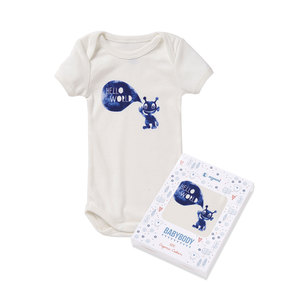 Baby Kurzarm-Body HELLO WORLD BOYS weiß/blau - nyani