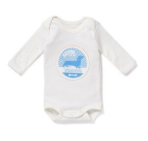 Baby Langarm-Body WOHOO BOYS weiß/blau - nyani