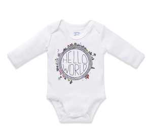 Baby Langarm-Body HELLO WORLD II offwhite - nyani