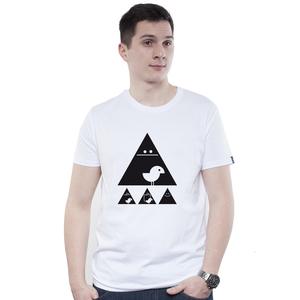 Shirt Men White 'Achtung Birdy!' Black - SILBERFISCHER