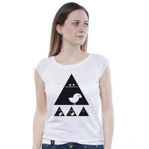 Bamboo Raglan Shirt Women White 'Achtung Birdy' Black - SILBERFISCHER