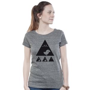 Lowcut Shirt Women Slub Heather Steel 'Achtung Birdy' Black - SILBERFISCHER