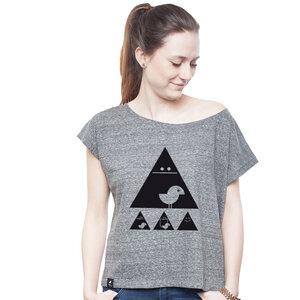 Oversize Shirt Women Slub Heather Steel 'Achtung Birdy' - SILBERFISCHER