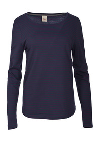 Langarmshirt-Violett geringelt  - People Wear Organic