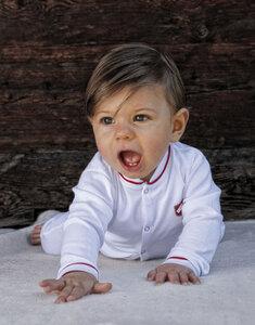 Babystrampler für kleine Tiger und Schmusekätzchen in weiss - Kati:ga