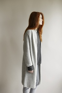 Long Cardigan Alpaka - light grey - Les Racines Du Ciel